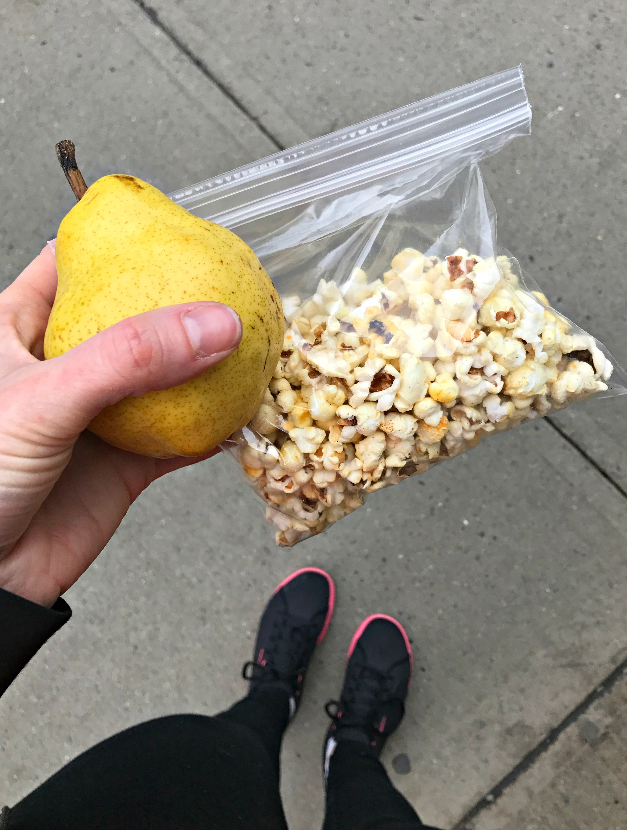 pear and popcorn snack