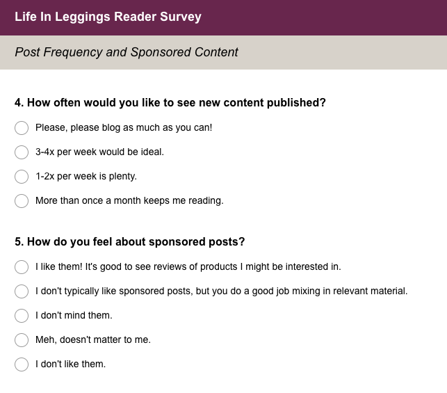 Life In Leggings Reader Survey