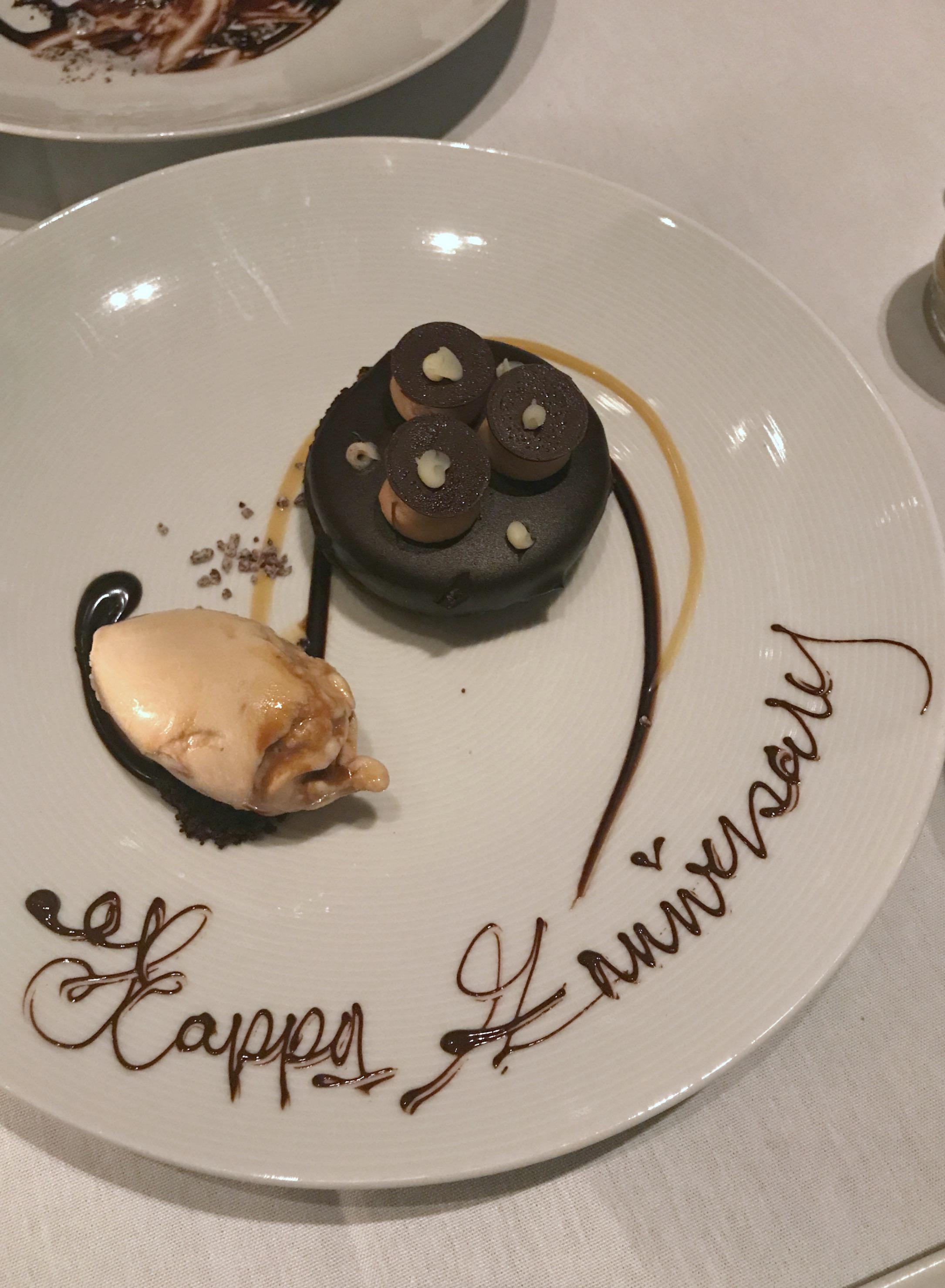 anniversary dessert at mandarin oriental hotel