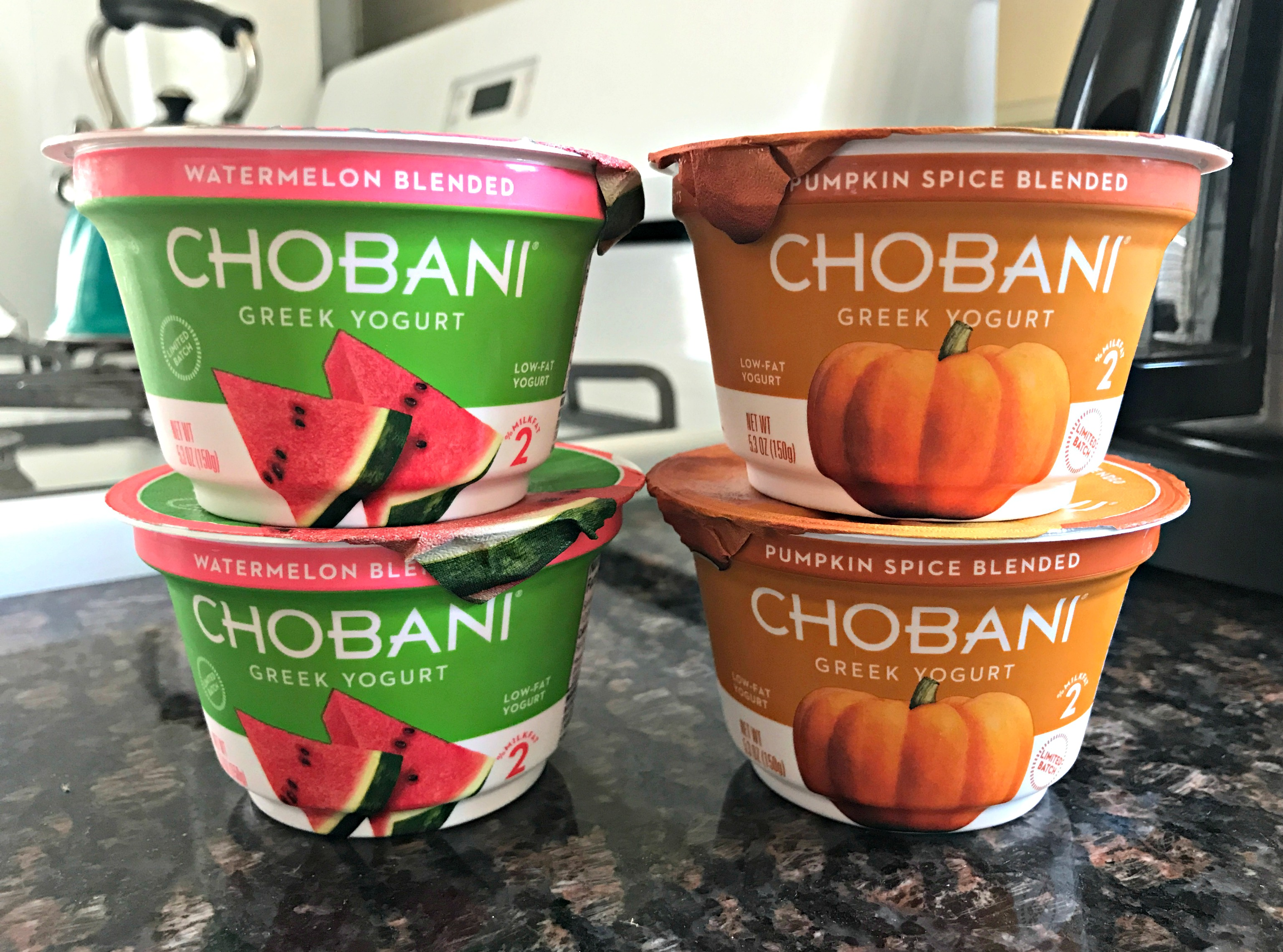 chobani watermelon and pumpkin spice blended greek yogurt
