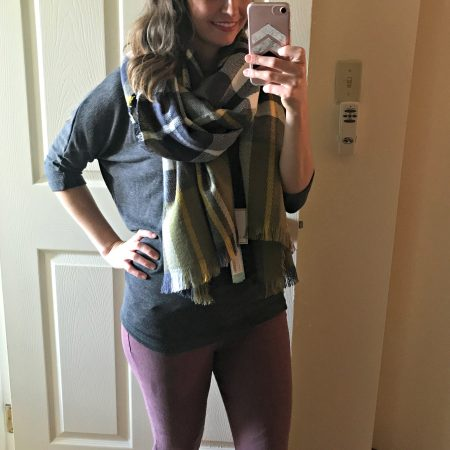 stitch fix 3/4 sleeve knit top and scarf