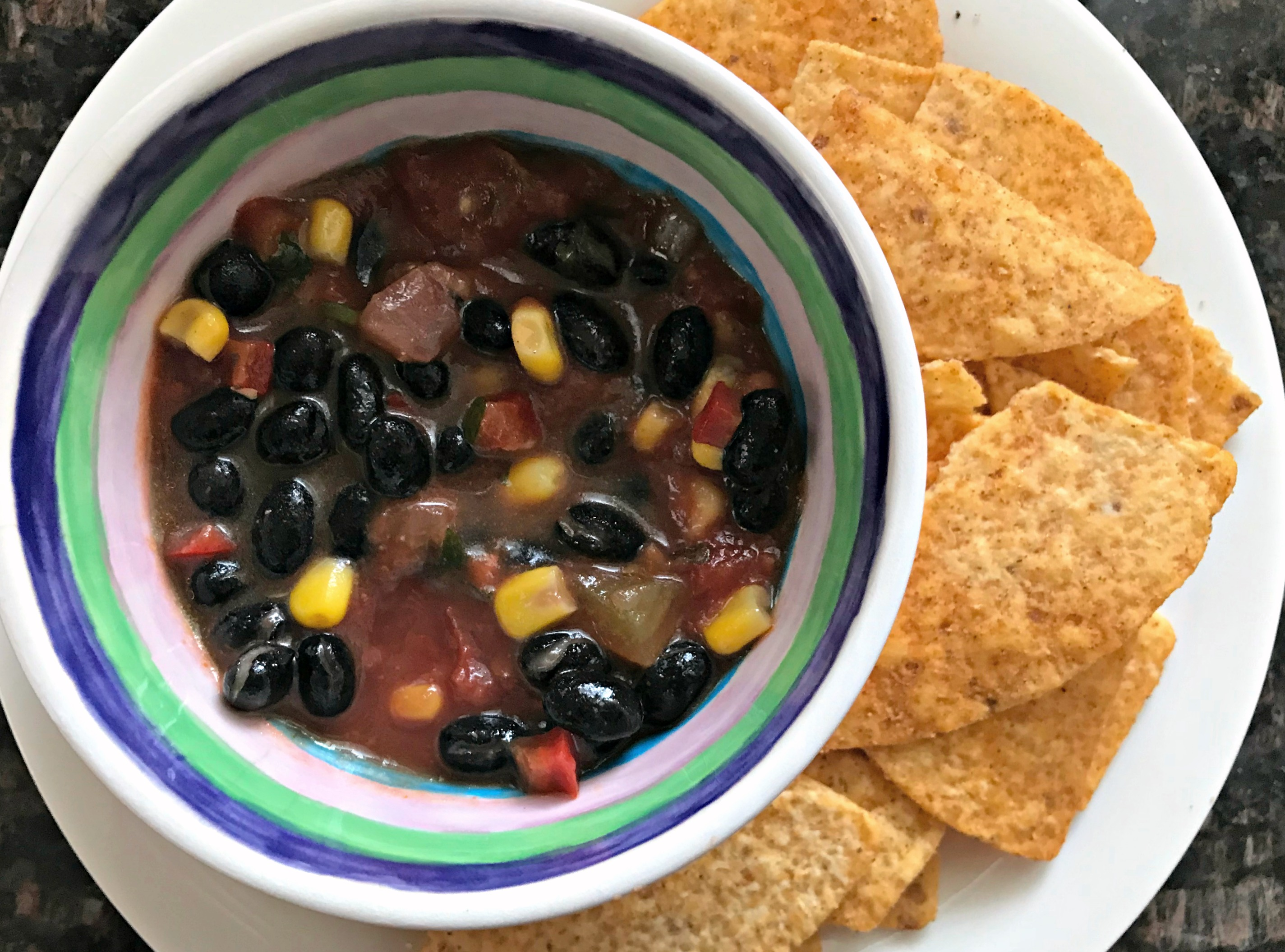 corn and bean salsa and corn chips