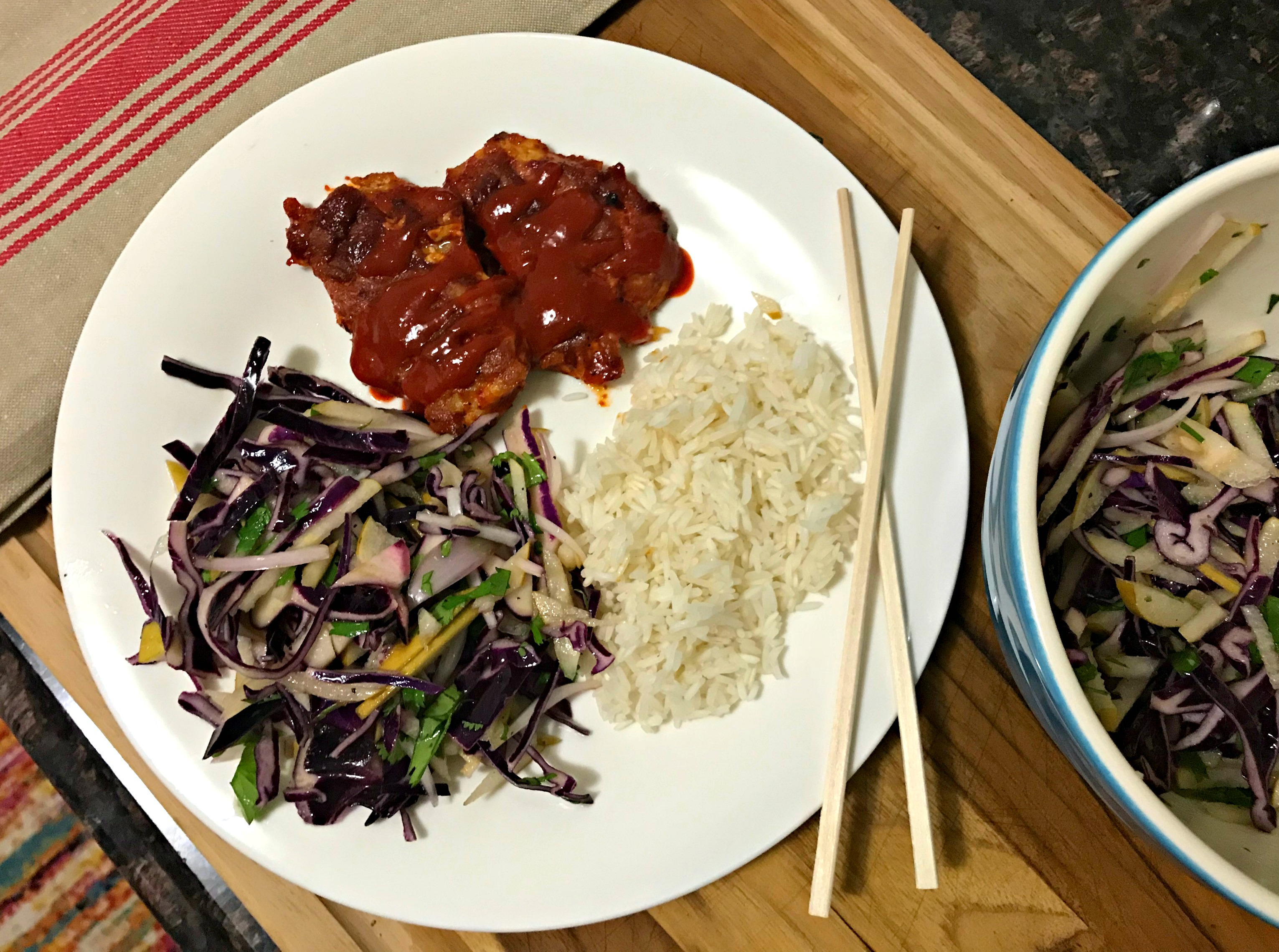 hello fresh chicken rice and cabbage slaw dinner