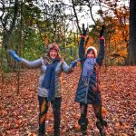 playing with leaves in prospect park