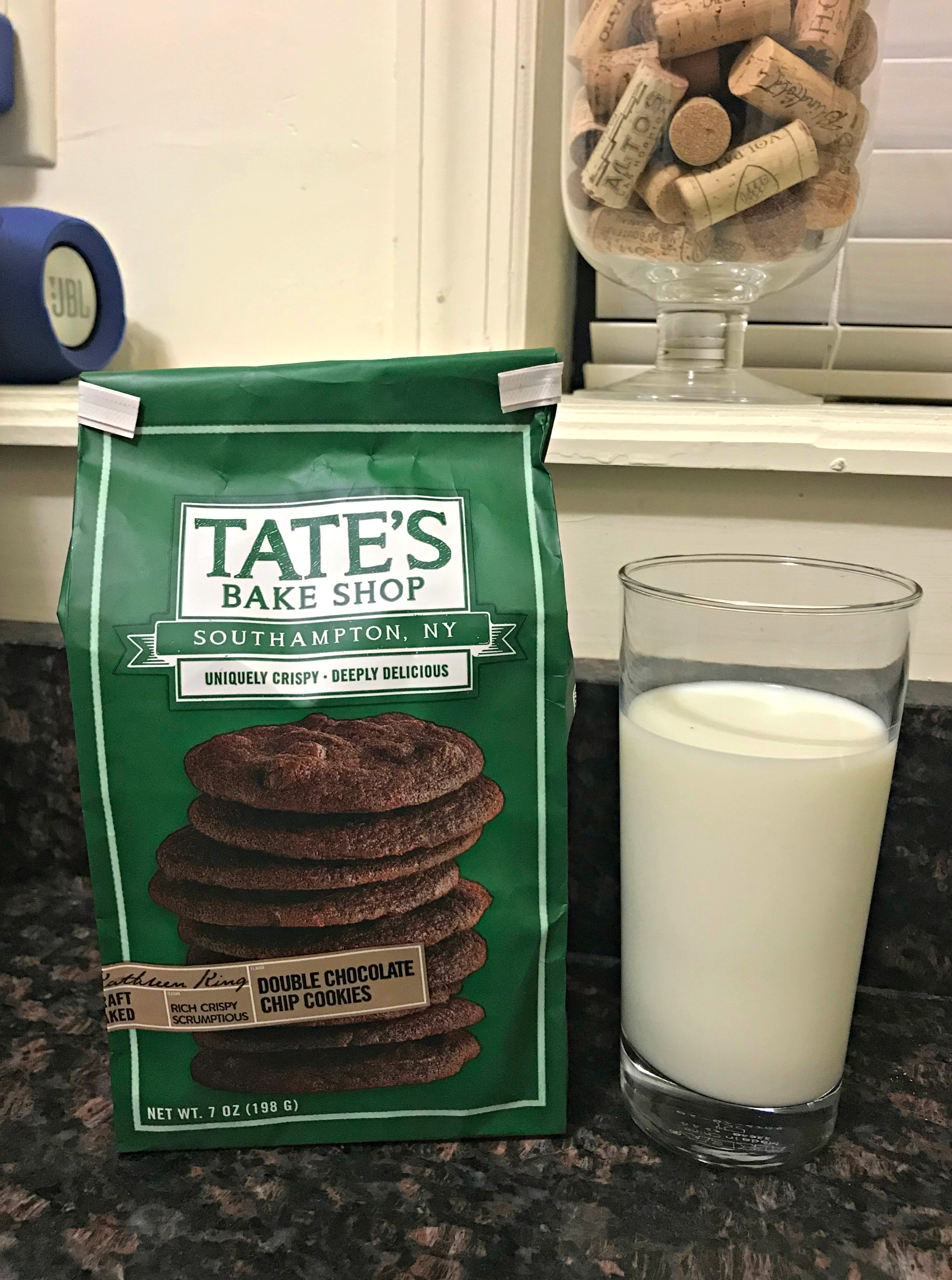 tate's bake shop cookies and milk