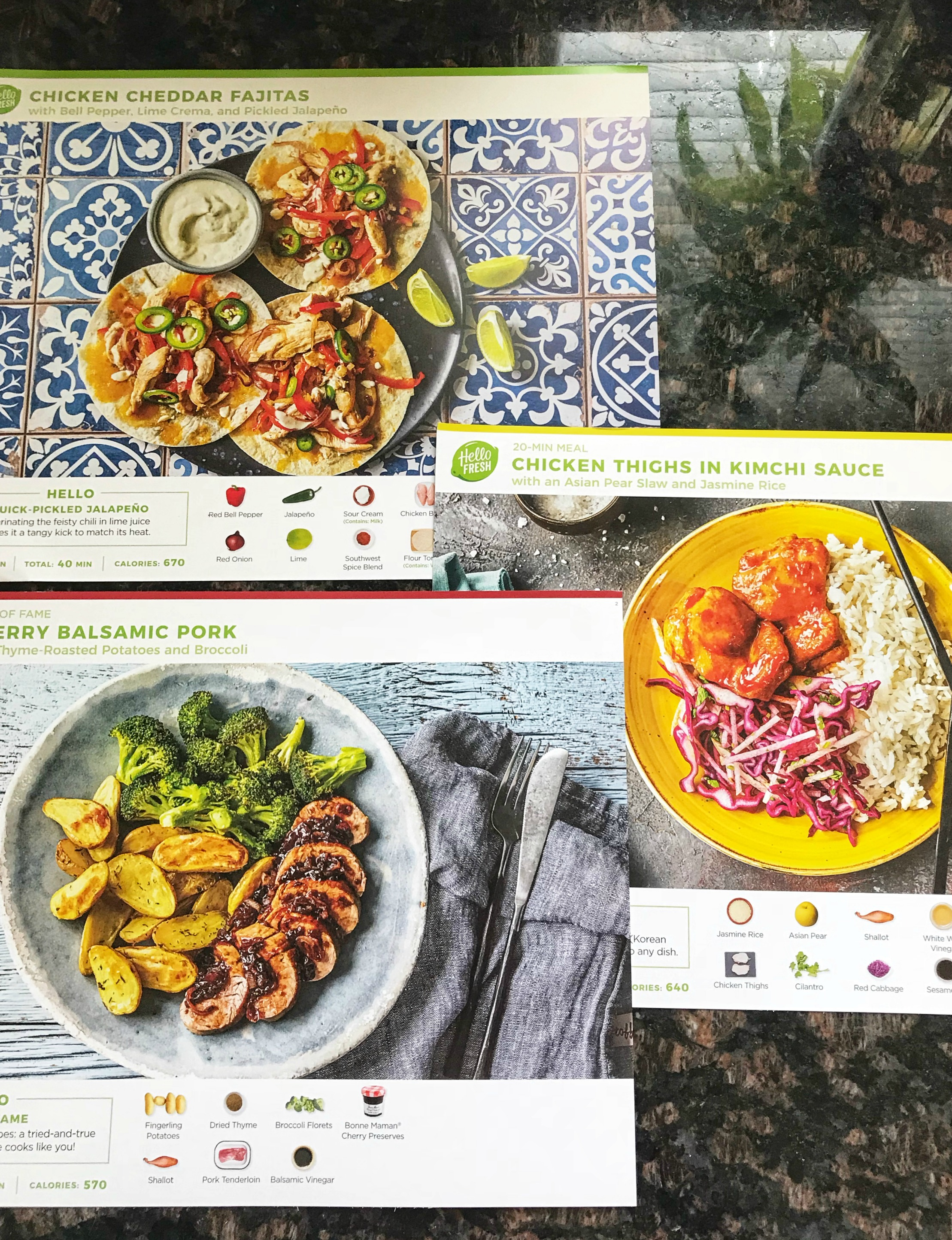 Hello Fresh recipe cards