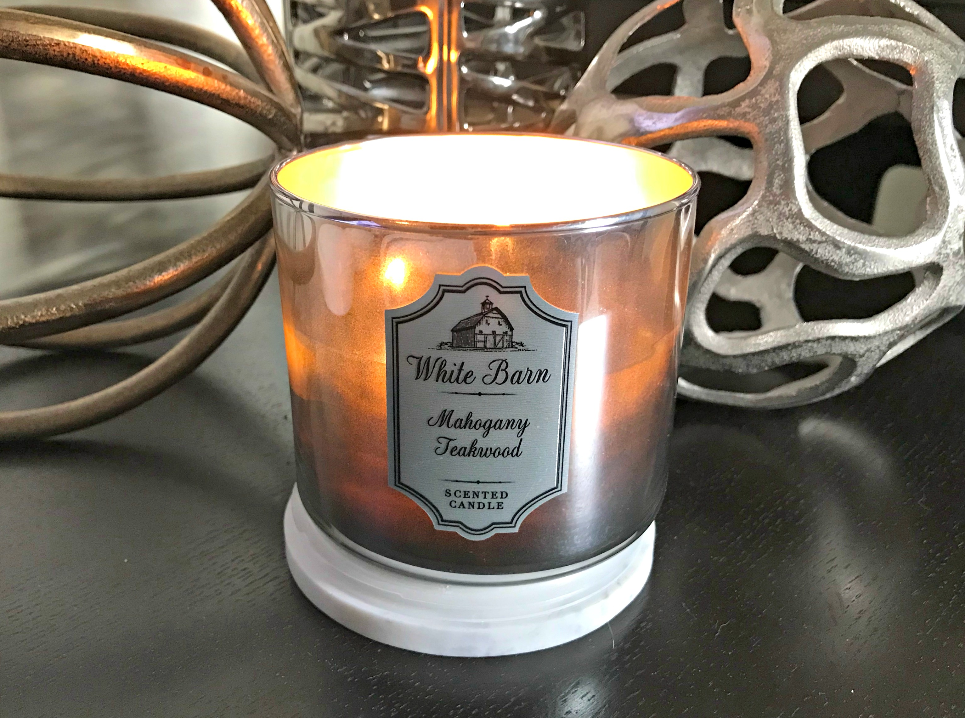 mahogany teakwood candle