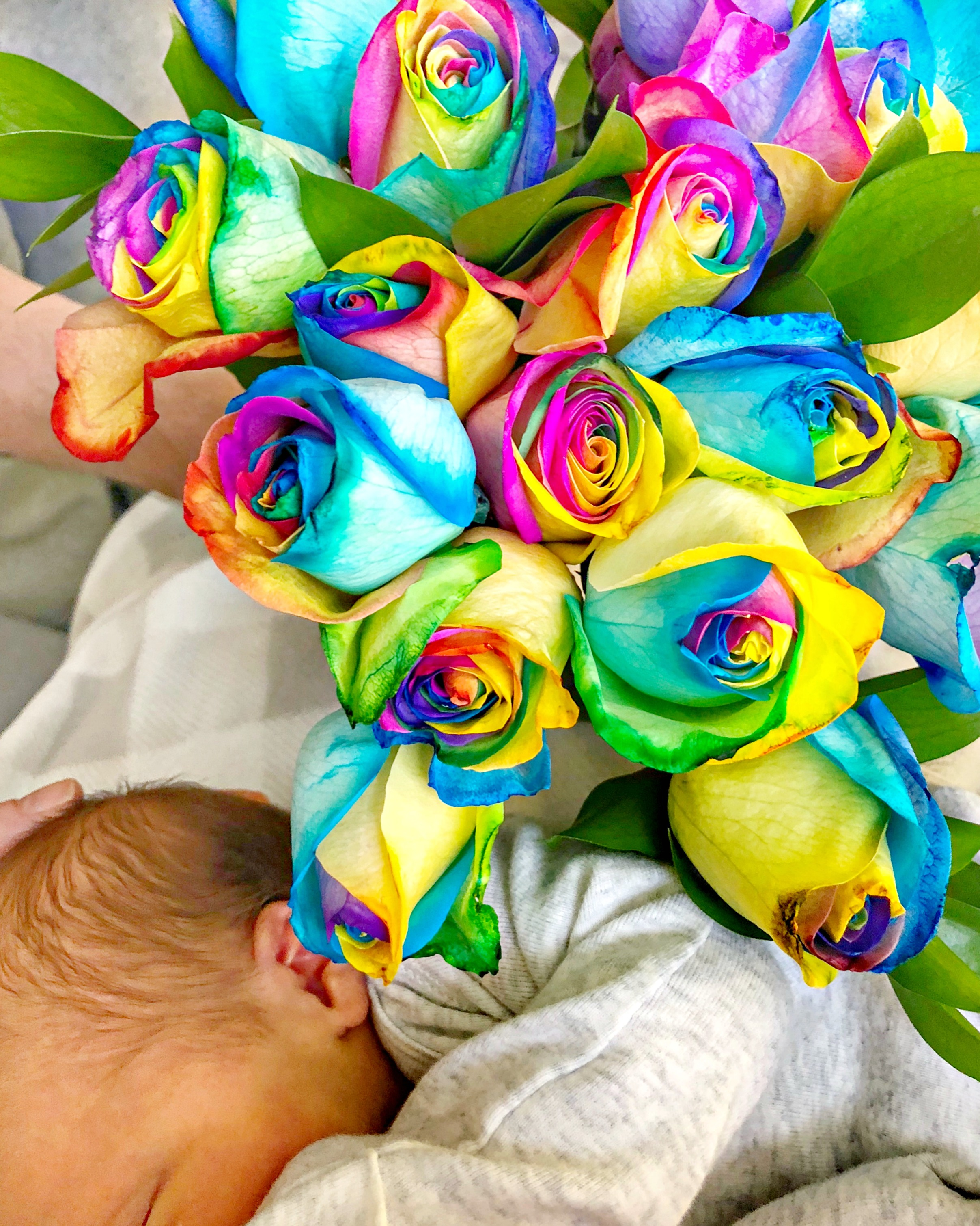 rainbow flowers with baby