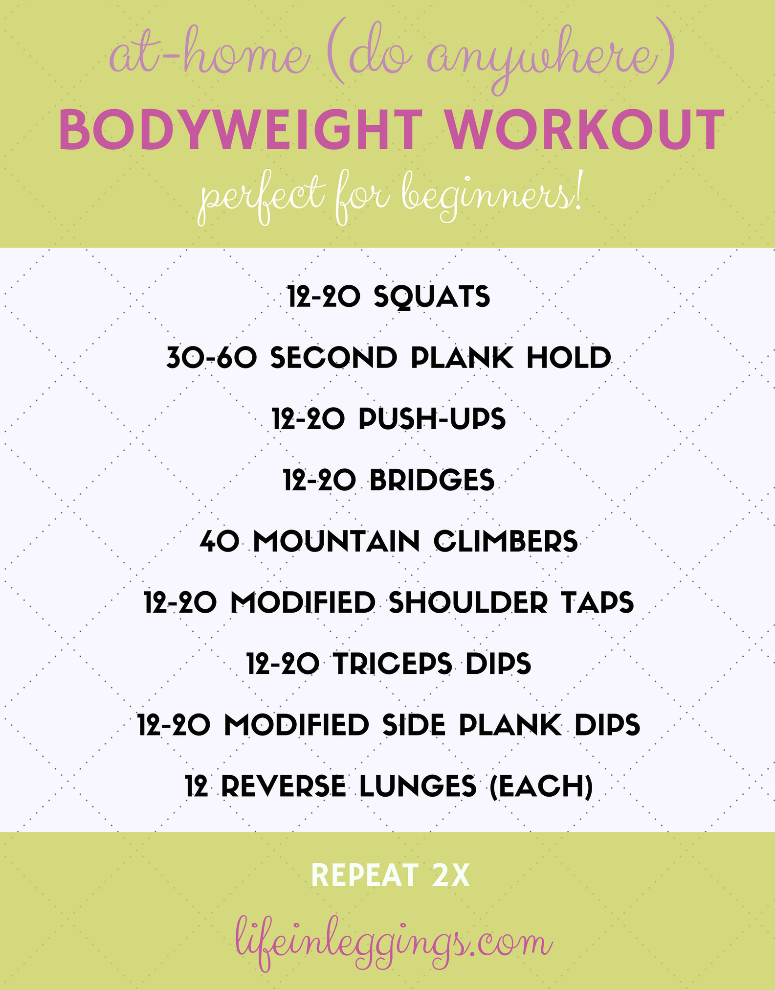 at-home (do anywhere) bodyweight workout - life in leggings