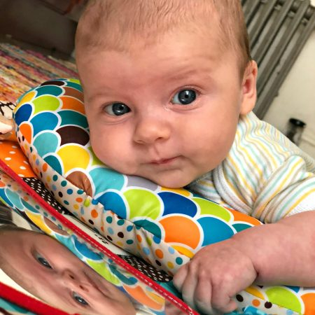 skyler on tummy time mat 2 months