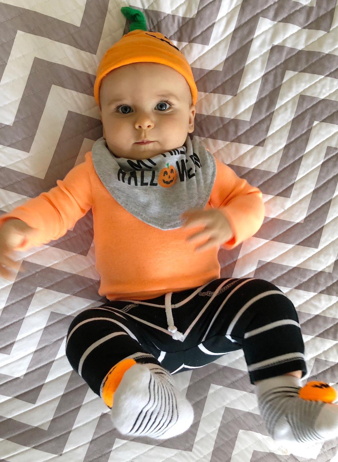 Skyler's first Halloween pumpkin
