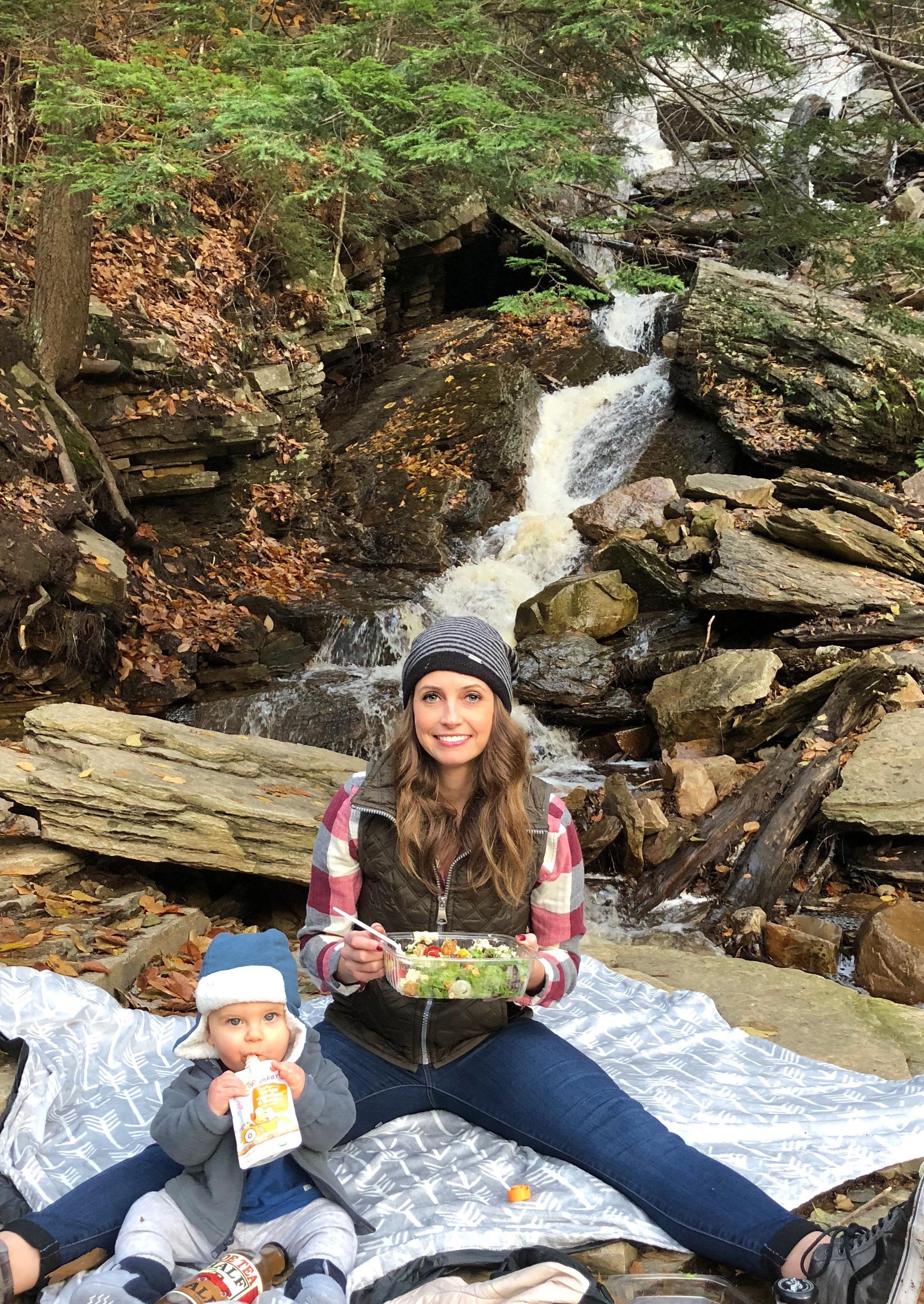 eating lunch at lye brook falls waterfall