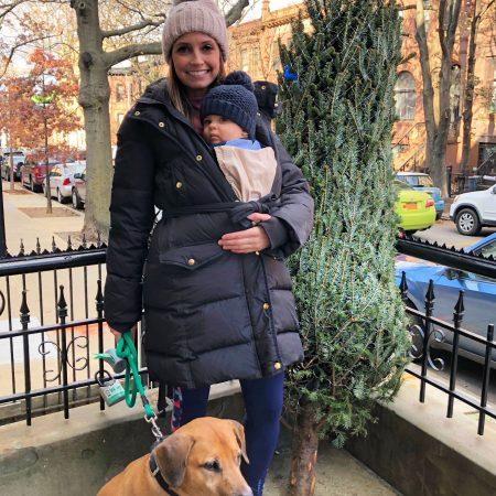 heather and skyler with christmas tree 2018