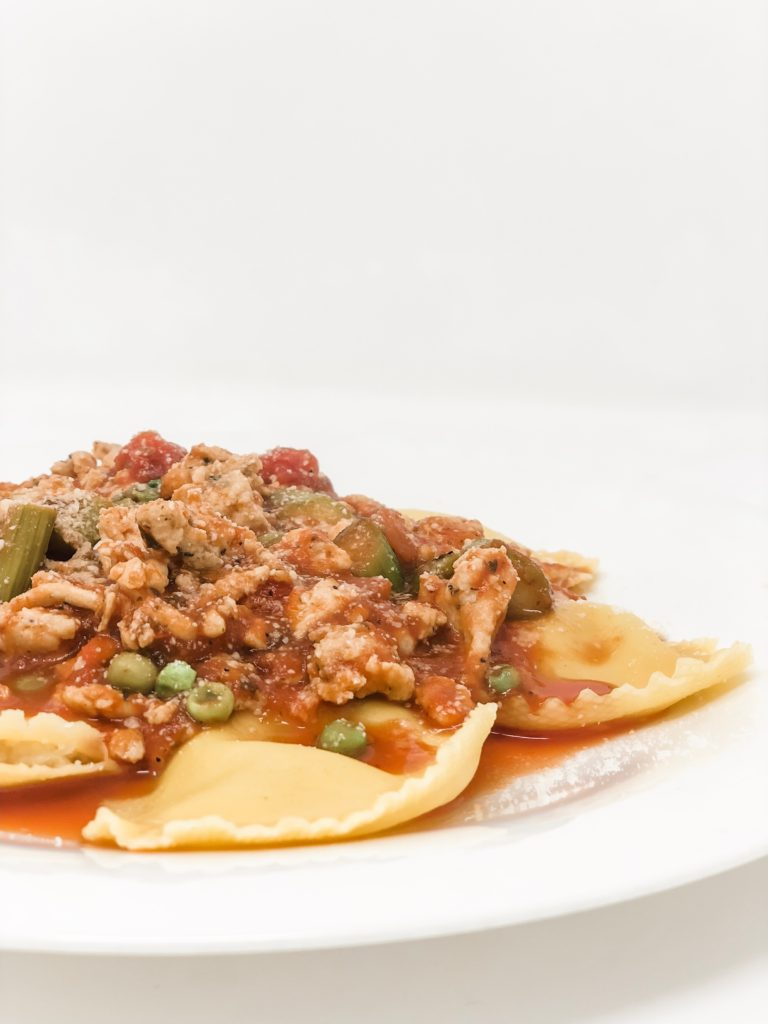 cauliflower ravioli with meat sauce