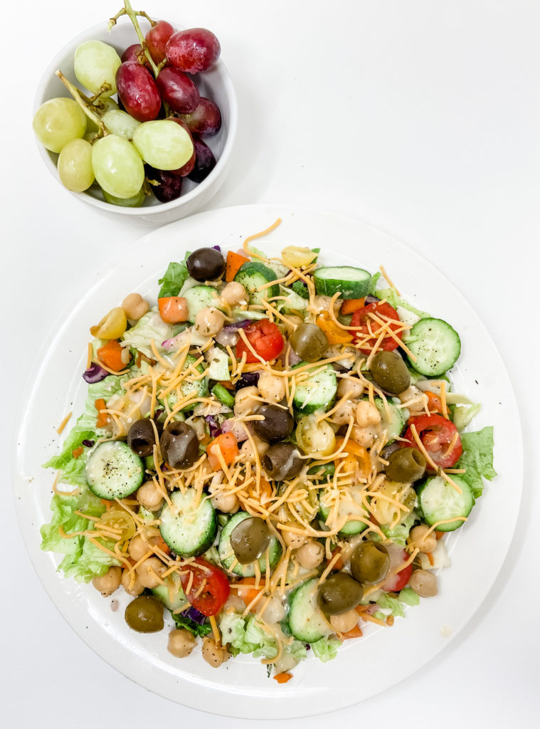 huge veggie salad and grapes