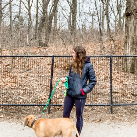 heather and roadie walking prospect park
