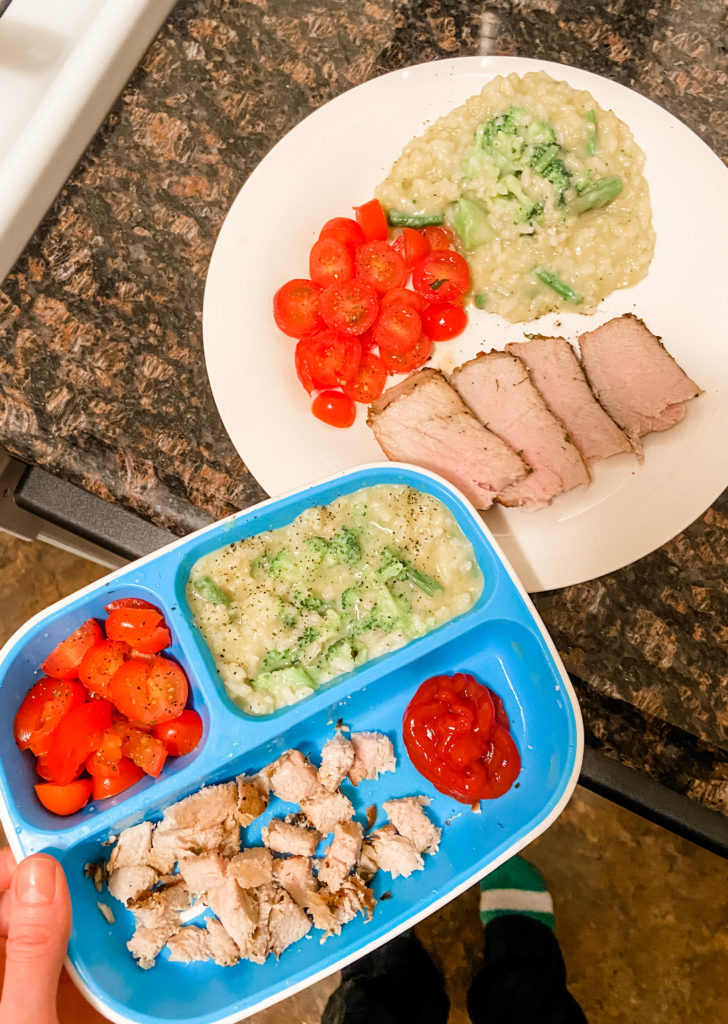 pork tenderloin toddler meal with risotto