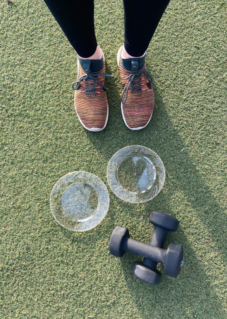 stability and strength workout with gliders and dumbbells