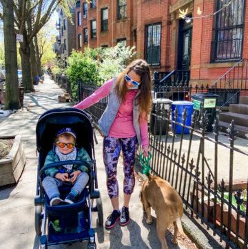 neighborhood walk with mask