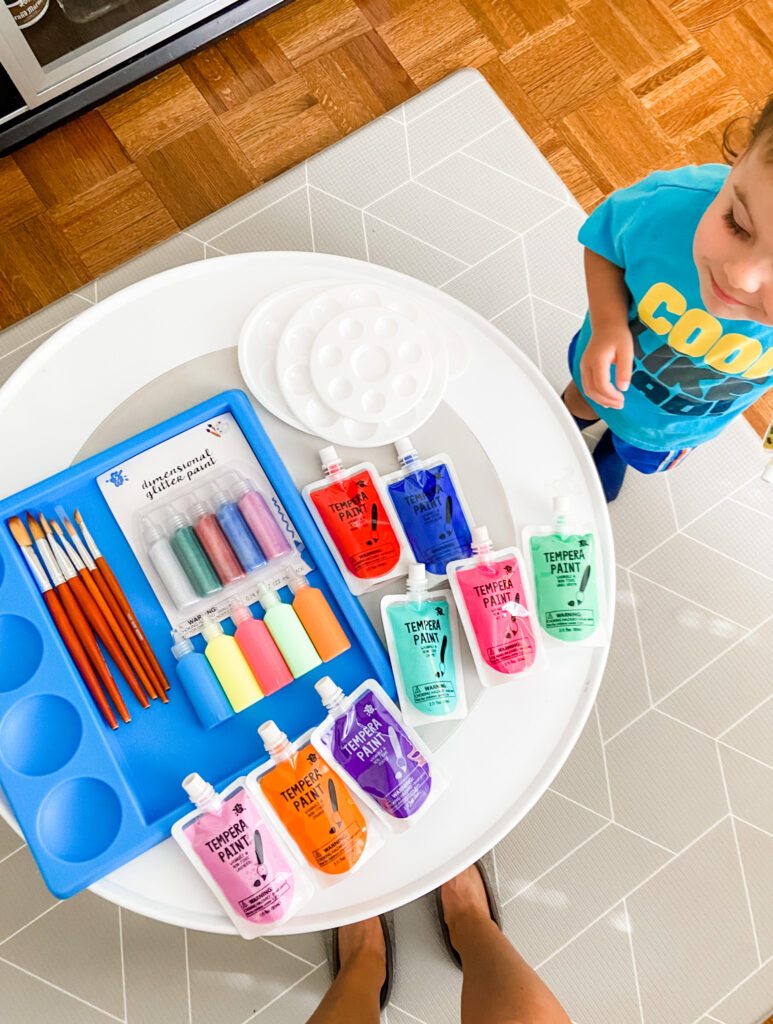 toddler painting supplies