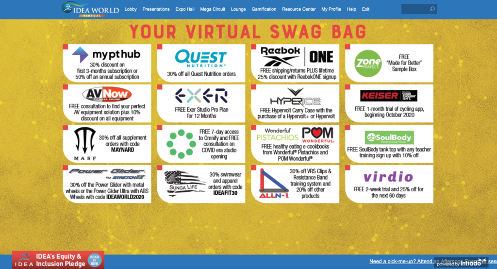 Virtual swag bag