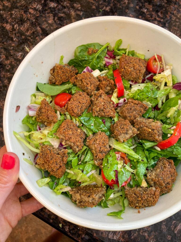 mediterranean salad with veggie burger