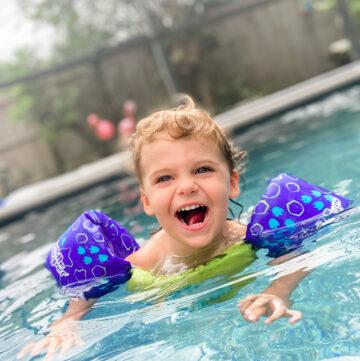 skyler swimming in pool 2.5 years old