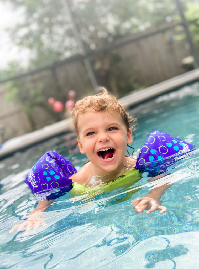 skyler swimming in pool 2.5 years old