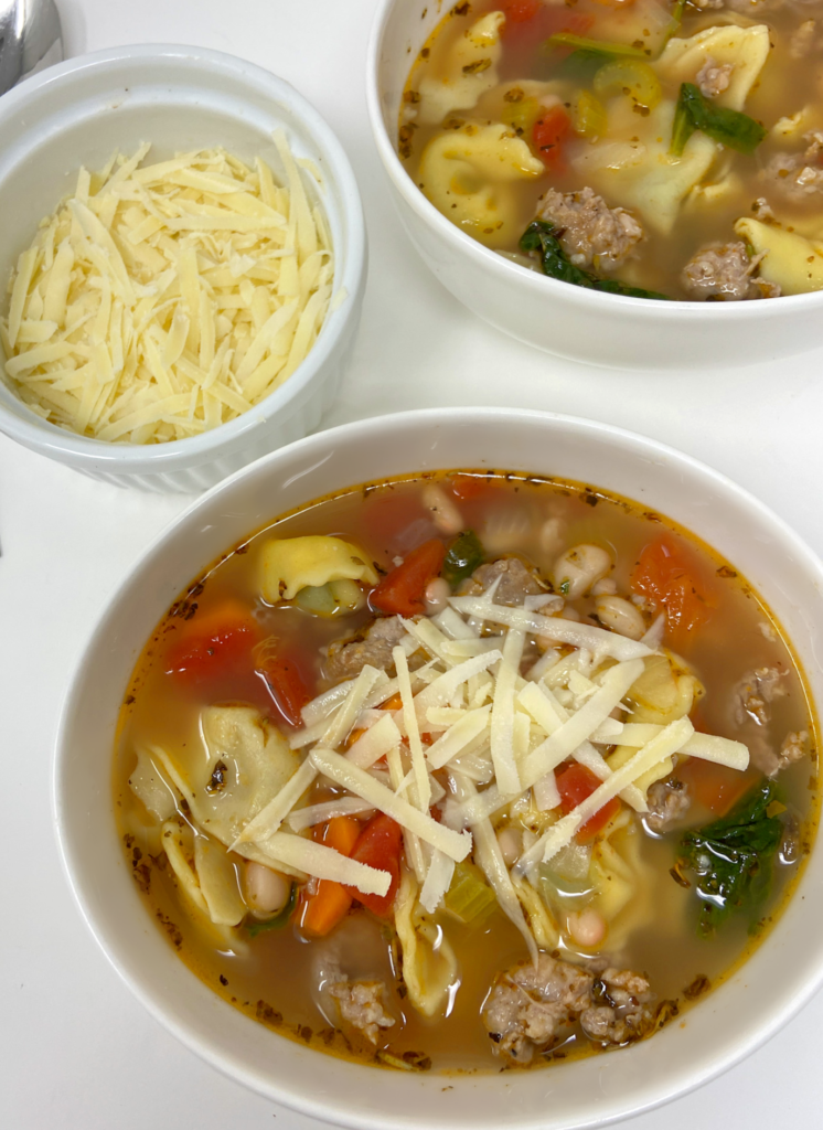 healthy and easy tortellini soup