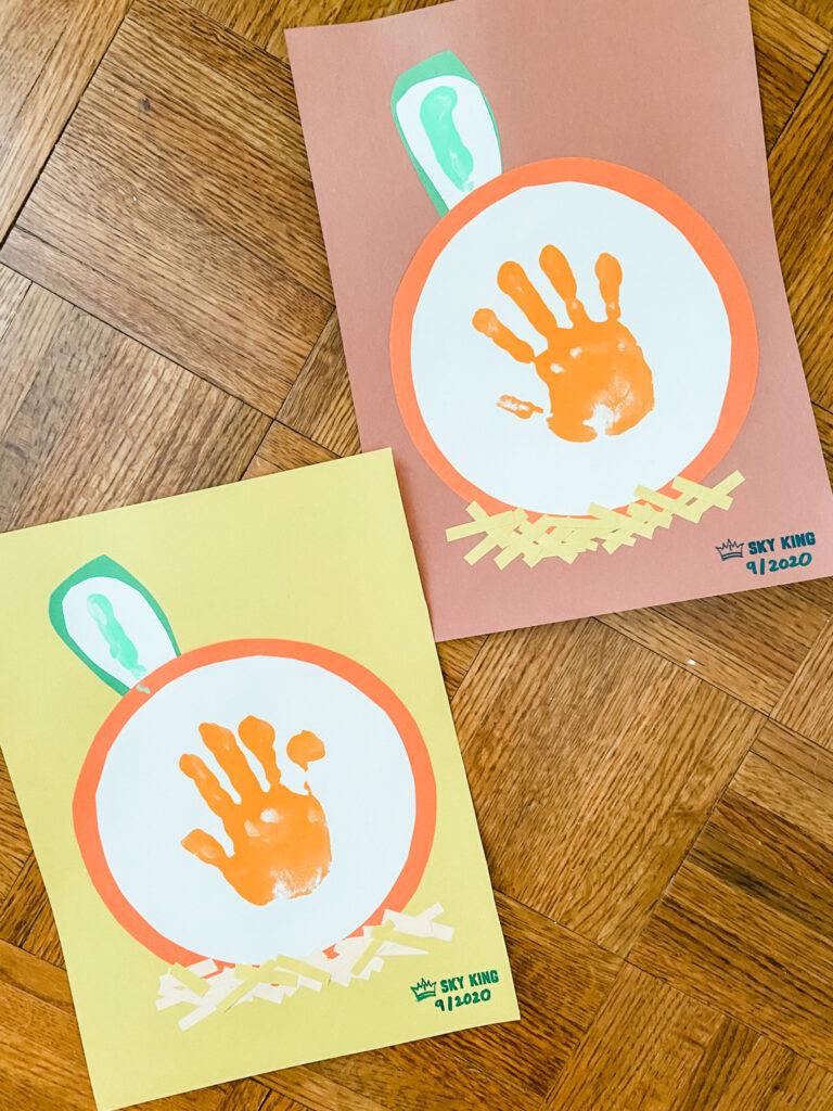 toddler handprint craft pumpkins