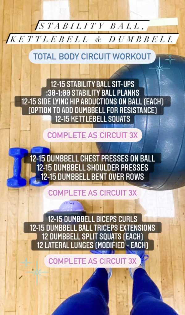 low-impact strength workout with dumbbells and stability ball