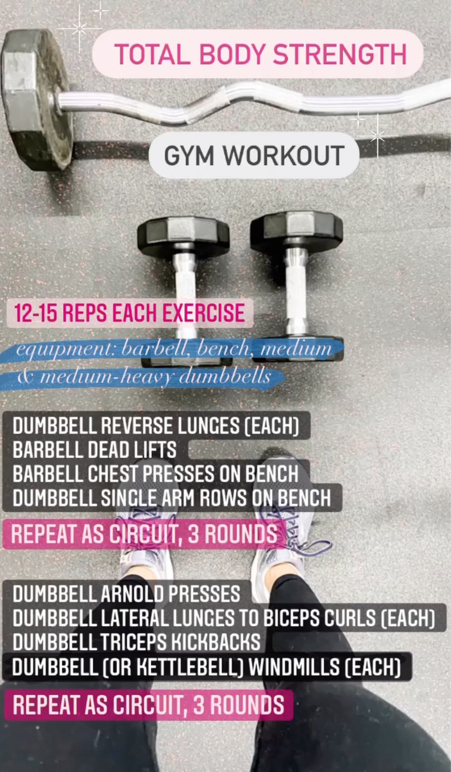Total Body Strength Gym Workout - Barbell, Bench, Dumbbells