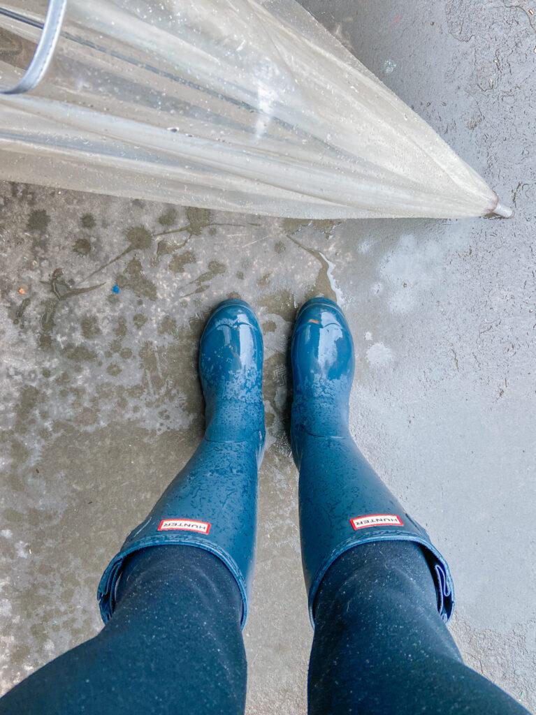 hunter rain boots and clear umbrella