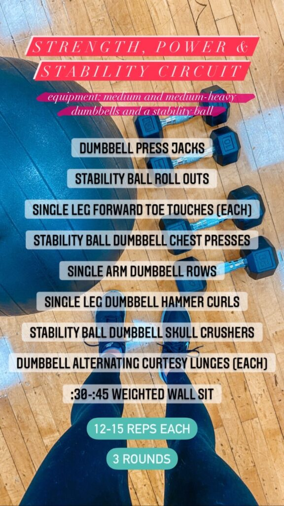 stability, strength and power circuit workout