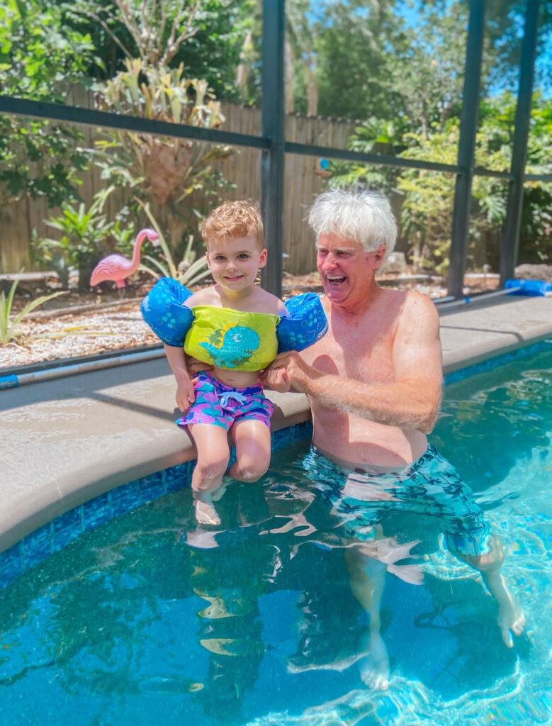 Skyler and dad in pool