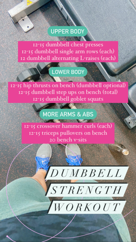 dumbbell strength workout with bench