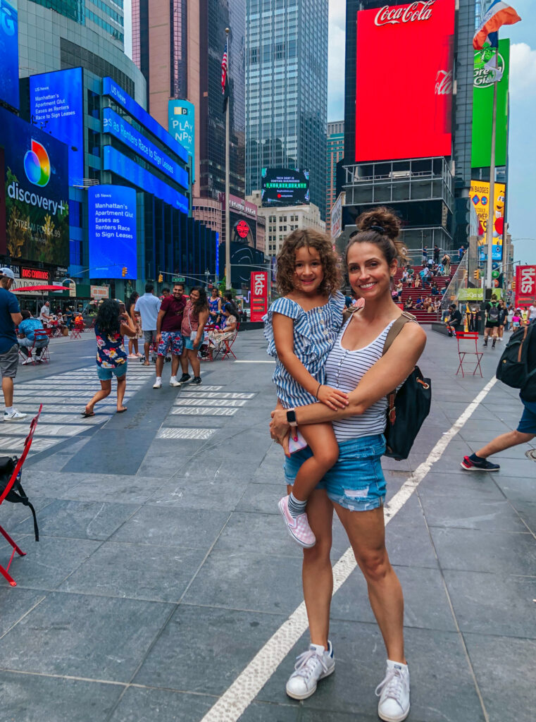 times square with friends