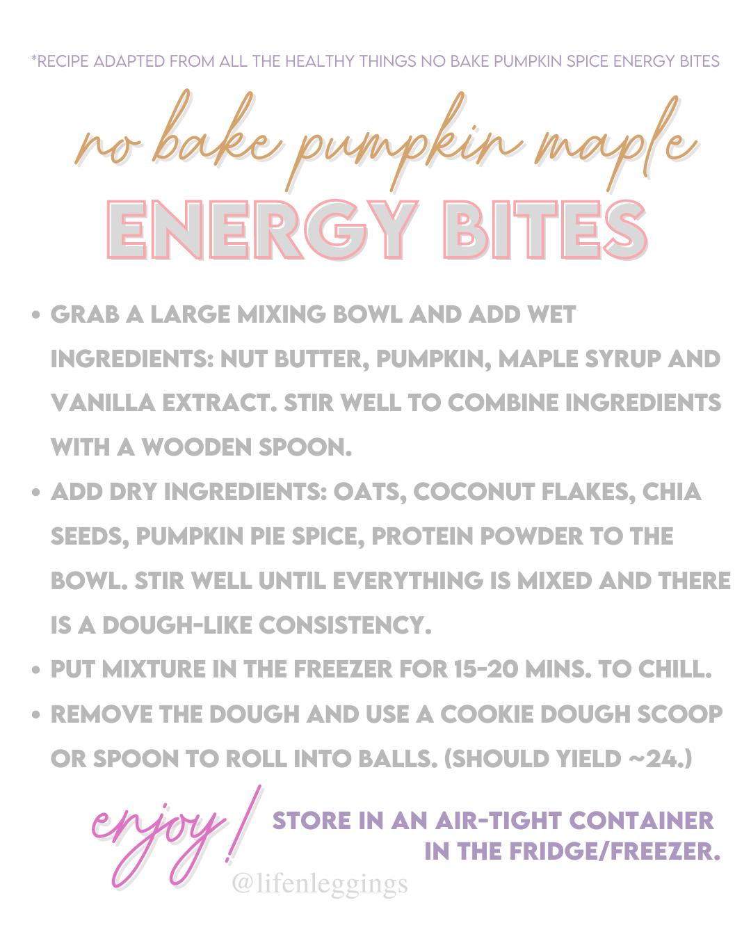 No Bake Pumpkin Maple Energy Bites